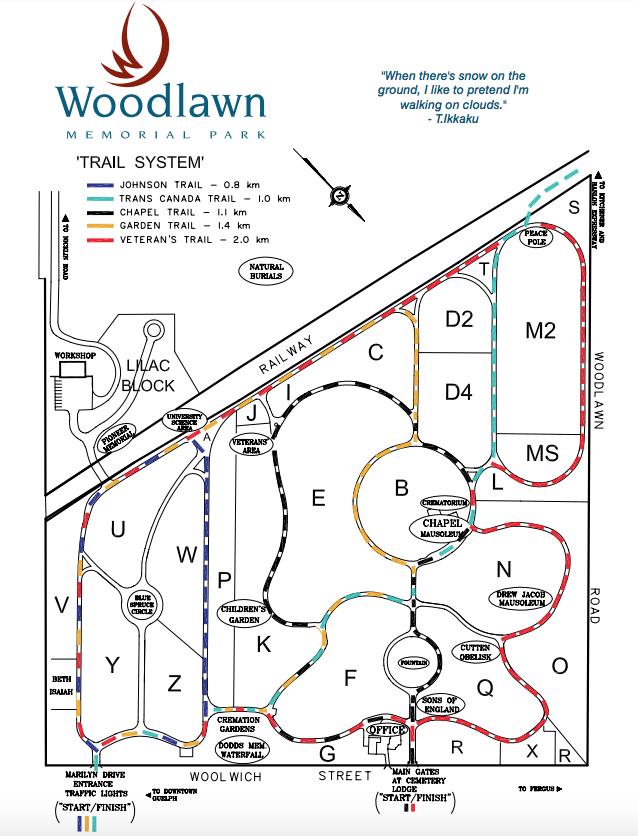 Woodlawn Memorial Park Walking Trail Map